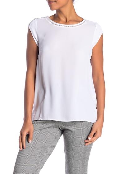 Imbracaminte Femei DR2 by Daniel Rainn Ladder Stitch Short Sleeve Blouse NEW WHITE