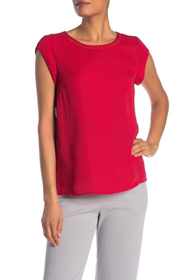 Imbracaminte Femei DR2 by Daniel Rainn Ladder Stitch Short Sleeve Blouse RED