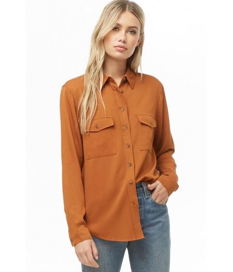 Imbracaminte Femei Forever21 High-Low Pocket Shirt RUST