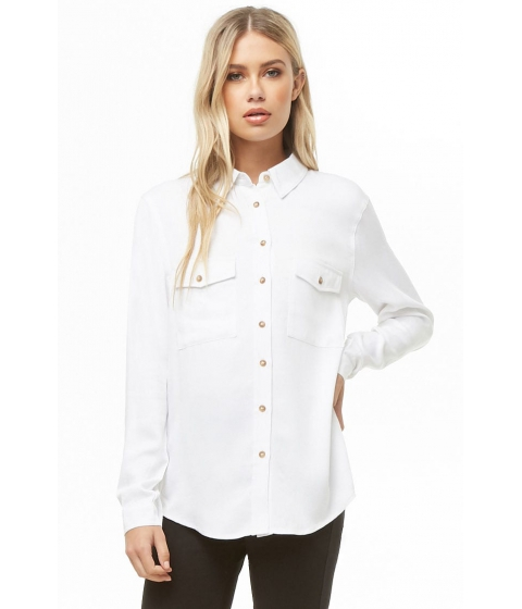 Imbracaminte Femei Forever21 High-Low Pocket Shirt WHITE