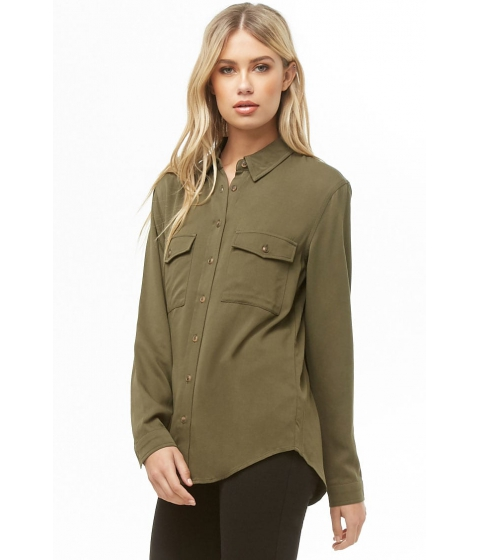 Imbracaminte Femei Forever21 High-Low Pocket Shirt OLIVE