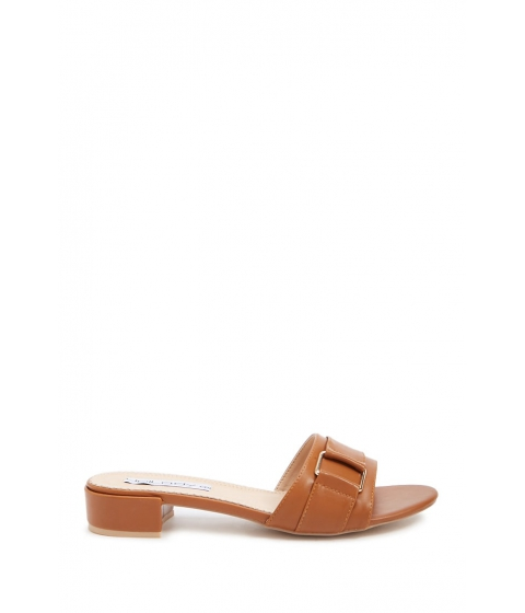 Incaltaminte Femei Forever21 Faux Leather Buckle Slide Sandals BROWN