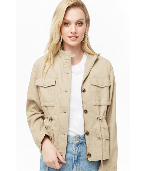 Imbracaminte Femei Forever21 Linen-Blend Utility Jacket TAUPE