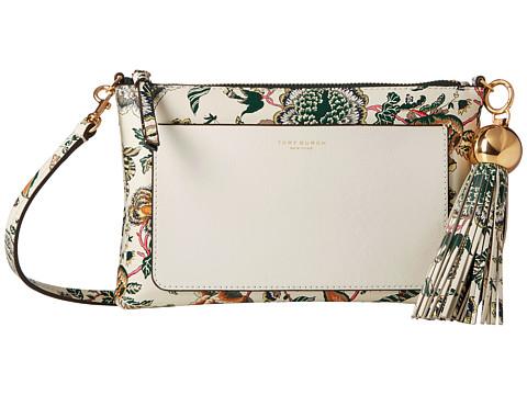 Genti Femei Tory Burch Floral Tassel Top Zip Crossbody Ivory Happy Times