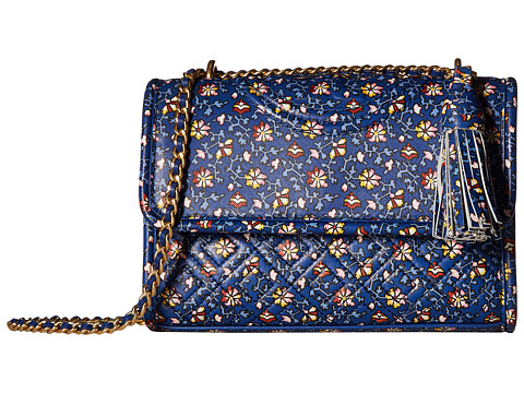 Genti Femei Tory Burch Fleming Printed Small Convertible Shoulder Bag Blue Wild Pansy