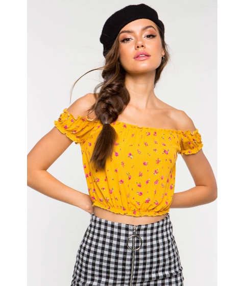 Imbracaminte Femei CheapChic Alanna Off Shoulder Floral Crop Top Yellow Print
