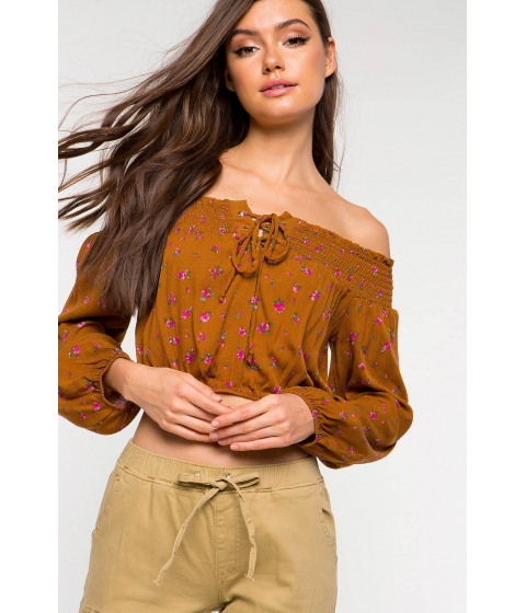 Imbracaminte Femei CheapChic Front Lace Up Off Shoulder Floral Top Brown Print