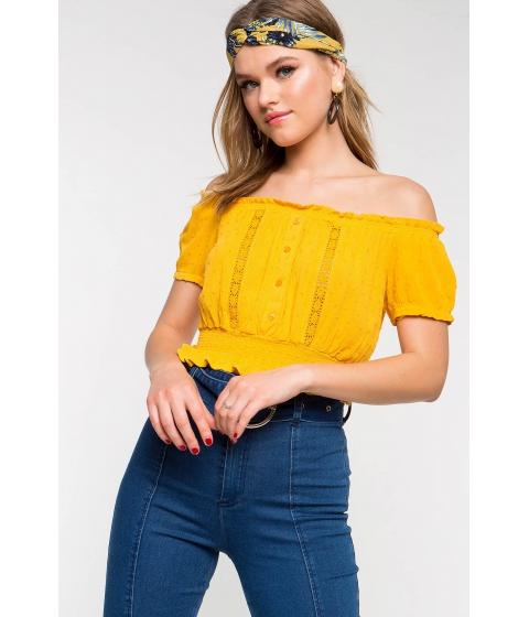 Imbracaminte Femei CheapChic Cinched Short Sleeve Off Shoulder Top Marigold