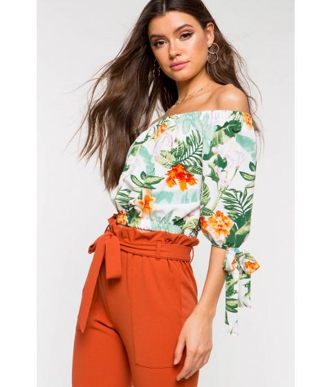 Imbracaminte Femei CheapChic Eileen Tropical Off Shoulder Top White Print