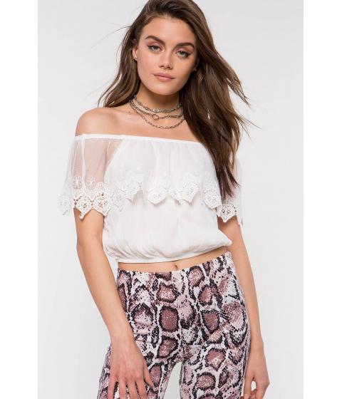 Imbracaminte Femei CheapChic Crochet Short Sleeve Off Shoulder Top White
