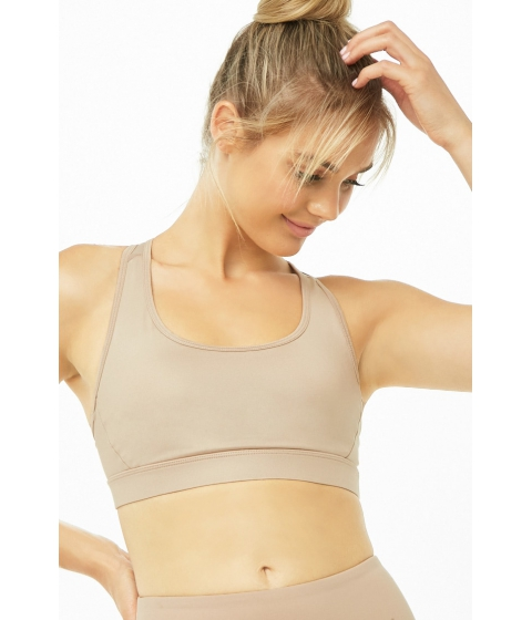 Imbracaminte Femei Forever21 Low Impact - Mesh Sports Bra CAMEL
