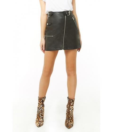 Imbracaminte Femei Forever21 Faux Leather Moto Mini Skirt BLACK