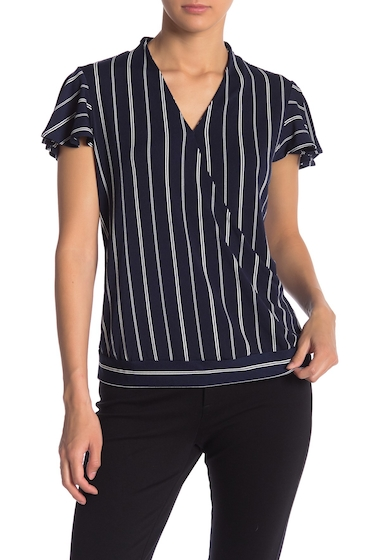 Imbracaminte Femei Adrianna Papell Striped Flutter Sleeve Faux Wrap Top BK WT DBLS
