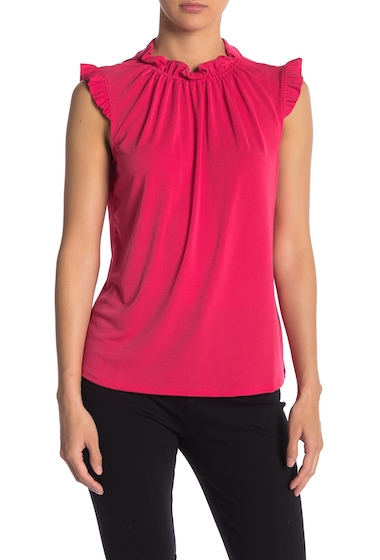 Imbracaminte Femei Adrianna Papell Ruffle Neck Solid Sleeveless Top VIVID PINK