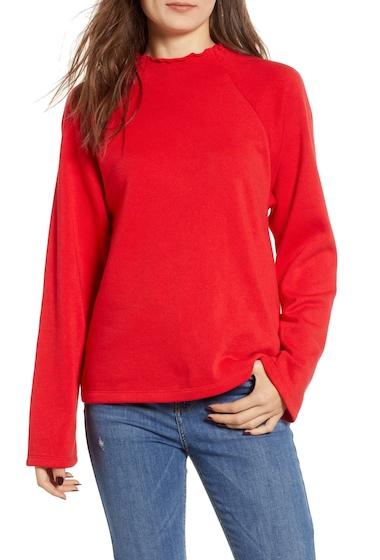 Imbracaminte Femei BP Lettuce Hem Fleece Pullover RED CHINOISE