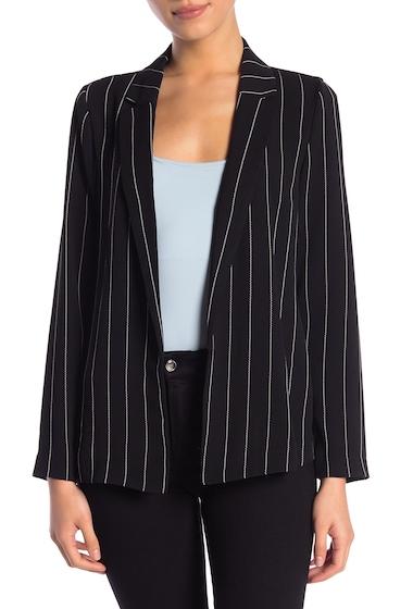 Imbracaminte Femei Catherine Catherine Malandrino Long Sleeve Woven Blazer Petite BLACKWHITE VERTICAL STRIPE
