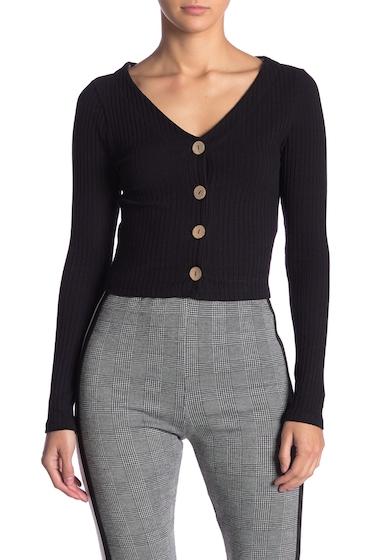 Imbracaminte Femei dee elly Knit Button Up Long Sleeve Crop Top BLACK