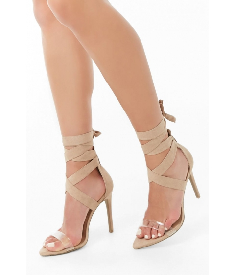 Incaltaminte Femei Forever21 Faux Suede Lace-Up Heels NATURAL