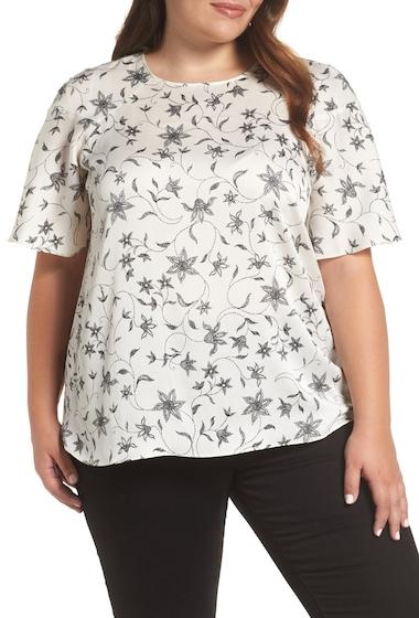 Imbracaminte Femei Vince Camuto Flutter Sleeve Floral Top Plus Size ANTIQ WHIT
