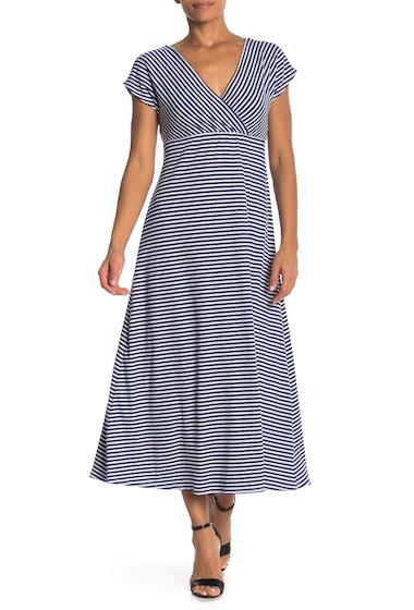 Imbracaminte Femei Velvet Torch Empire Ribbed Striped Dress NAVY WHITE STRIPE