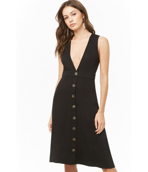 Imbracaminte Femei Forever21 V-Neck Knee-Length Dress BLACK