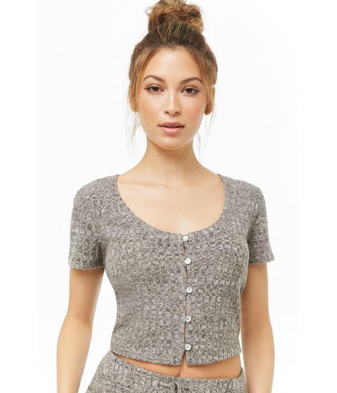 Imbracaminte Femei Forever21 Ribbed Brushed Knit Top CHARCOAL HEATHER