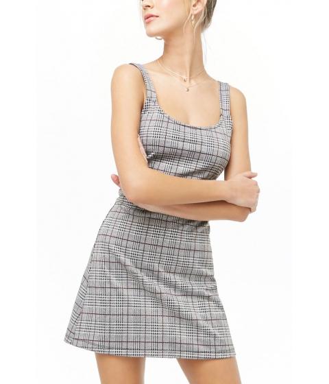 Imbracaminte Femei Forever21 Glen Plaid Mini Dress BLACKBURGUNDY