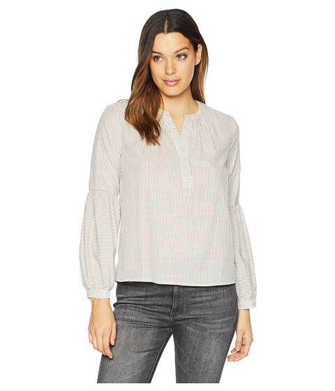 Imbracaminte Femei Vince Camuto Long Sleeve Squire Stripe Henley Peasant Blouse Antique White