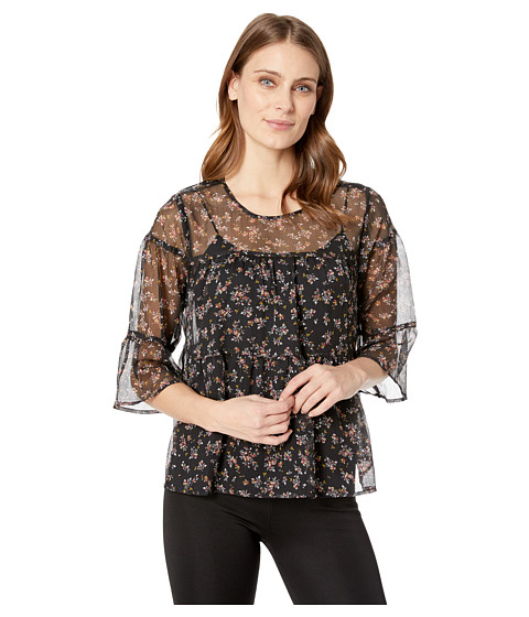 Imbracaminte Femei Vince Camuto Ditsy Manor Tiered Ruffle Blouse Classic Navy