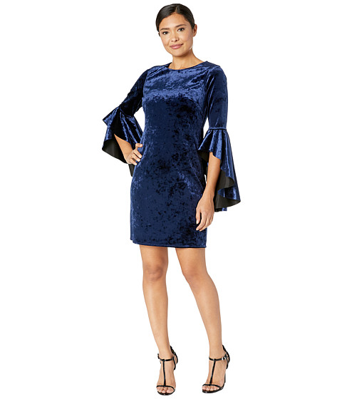 Imbracaminte Femei Laundry by Shelli Segal Reversible Velvet Dress with Drama Sleeves BlackNavy