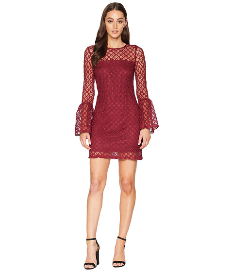 Imbracaminte Femei Laundry by Shelli Segal Lace Cocktail Dress with Bell Sleeves Burgundy