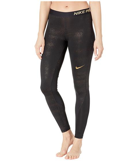 Imbracaminte Femei Nike Pro Metallic Dots Print Tights BlackMetallic Gold