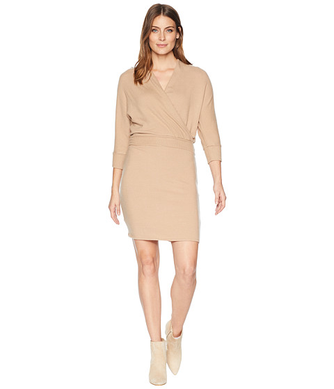 Imbracaminte Femei Three Dots Brushed Sweater Wrap Dress Camel