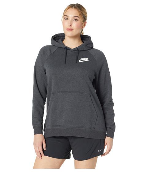 Imbracaminte Femei Nike Plus Size Rally Extended Hoodie Black HeatherBlackWhite