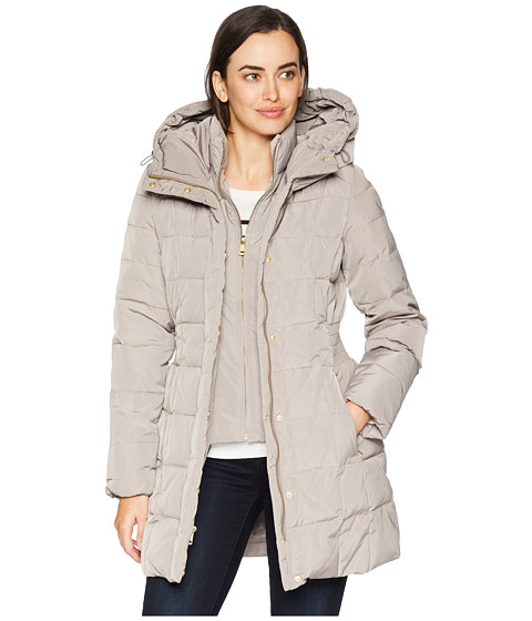 Imbracaminte Femei Cole Haan Down Coat with Bib Front and Dramatic Hood Cashew