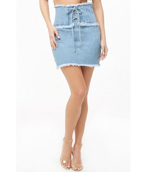 Imbracaminte Femei Forever21 Lace-Up Denim Mini Skirt LIGHT DENIM
