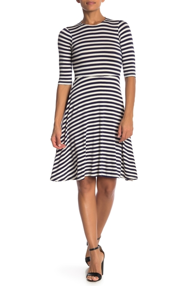 Imbracaminte Femei Velvet Torch Striped Skater Dress NAVY WHITE STRIPE