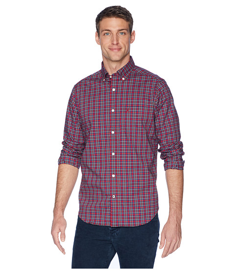 Imbracaminte Barbati Nautica Long Sleeve Wear to Work Small Plaid Woven Shirt Rescue Red