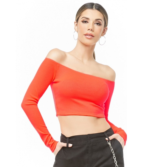 Imbracaminte Femei Forever21 Off-the-Shoulder Crop Top NEON ORANGE