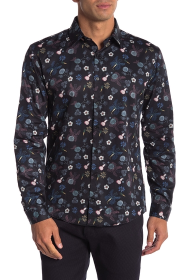 Imbracaminte Barbati Lindbergh Floral Print Long Sleeve Regular Fit Shirt BLACK