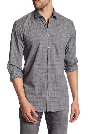 Imbracaminte Barbati Lindbergh Plaid Dotted Long Sleeve Regular Fit Shirt DK GREY