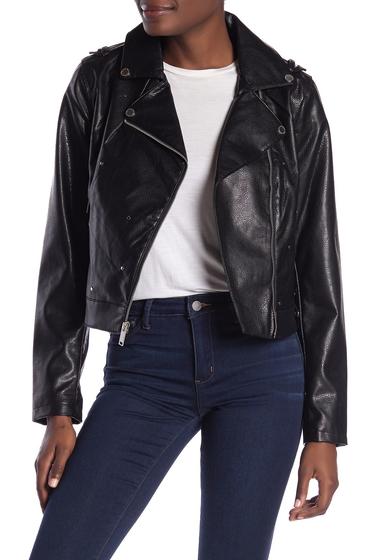Imbracaminte Femei French Connection Faux Leather Flat Studded Asymmetrical Zip Moto Jacket BLACK