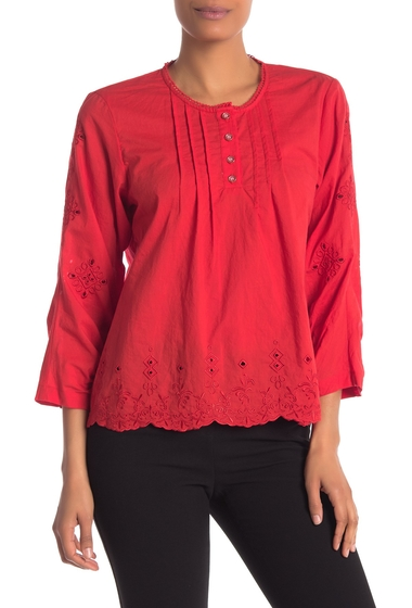 Imbracaminte Femei Laundry by Shelli Segal Eyelet Lace Embroidered Henley Top GOJI BERRY