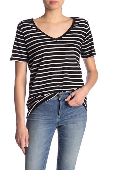 Imbracaminte Femei Splendid Striped V-Neck T-Shirt BLK STRIPE