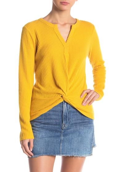 Imbracaminte Femei Socialite Waffle Knit Twisted Long Sleeve Top MUSTARD