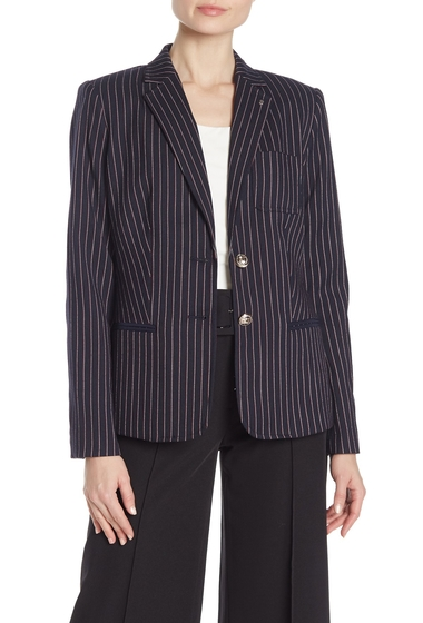 Imbracaminte Femei Modern American Designer Striped Two Button Blazer MIDNTMULT