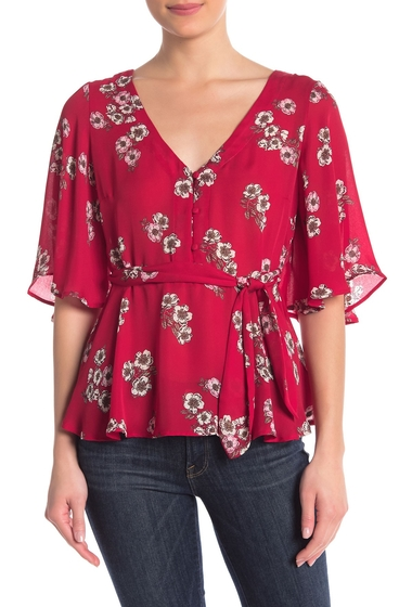 Imbracaminte Femei cupcakes and cashmere Tipton Floral Print Blouse CHERRY RED