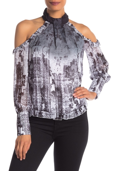 Imbracaminte Femei Bebe Printed Cold Shoulder Ruffle Blouse GHOST LACE 1