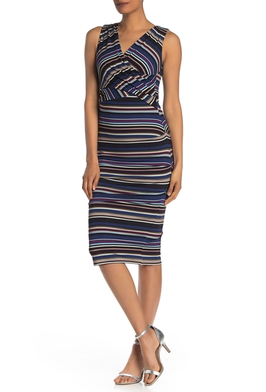 Imbracaminte Femei Nicole Miller Striped Surplice Sleeveless Dress MULTI COLO