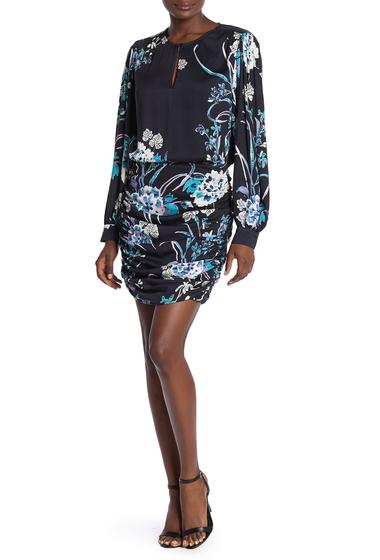 Imbracaminte Femei Hale Bob Floral Long Sleeve Keyhole Dress BLACK